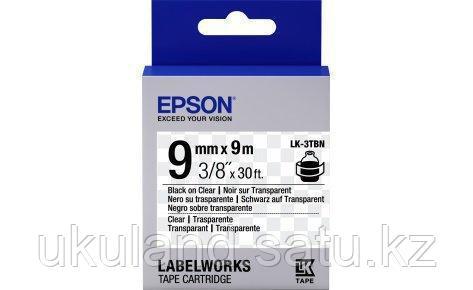 Лента Epson C53S653004 LK3TBN Прозрачная лента 9мм, Прозр./Черн., 9м
