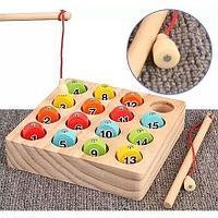 """Детская игра из дерева """"Рыбалка с цифрами"""""""