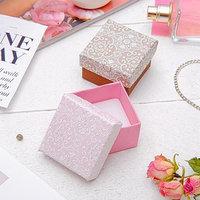 Коробочка подарочная под кольцо 'Винтаж' 5x5 (размер полезной части 4,5х4,5см), цвет МИКС, белая вставка (комплект из 6 шт.)