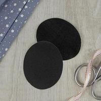 Заплатки для одежды, 7 x 5,5 см, термоклеевые, пара, цвет чёрный (комплект из 5 шт.)