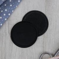 Заплатка для одежды 'Круг', d  6,3 см, термоклеевая, цвет чёрный (комплект из 10 шт.)
