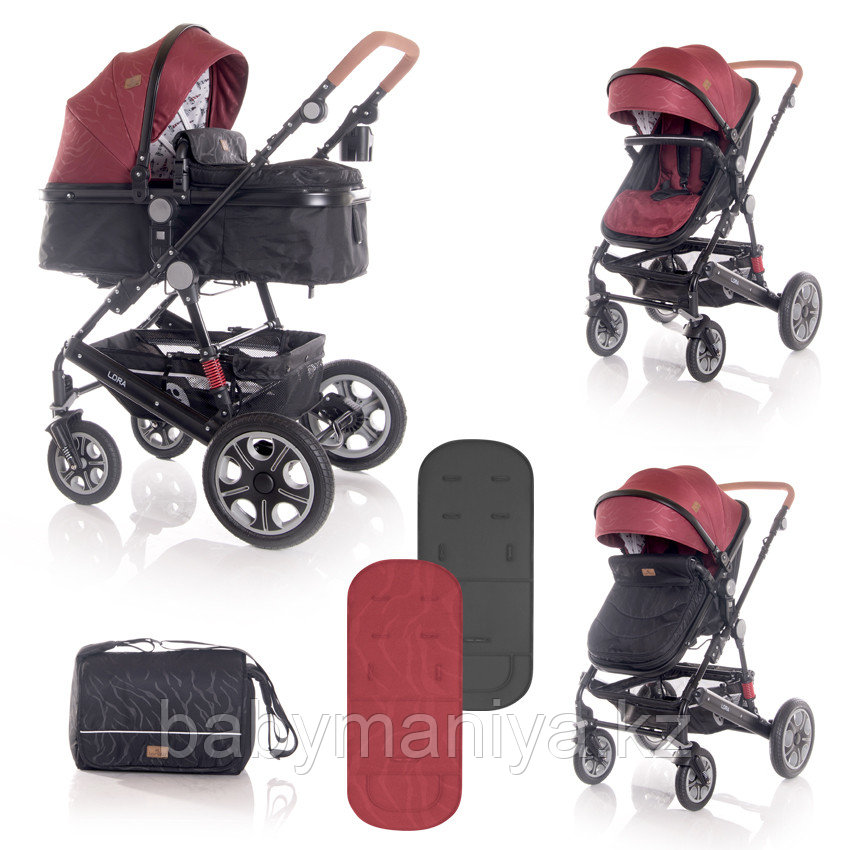 Коляска 2 в 1 Lorelli Lora + Сумка для мамы Красно-черный / Red&Black LIGHTHOUSE 2055