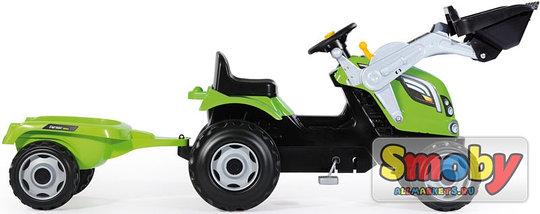Трактор педальный с прицепом и ковшом, зеленый, фото 3