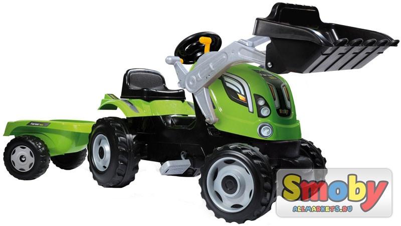 Трактор педальный с прицепом и ковшом, зеленый