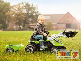 Трактор педальный с прицепом и ковшом, зеленый, фото 2