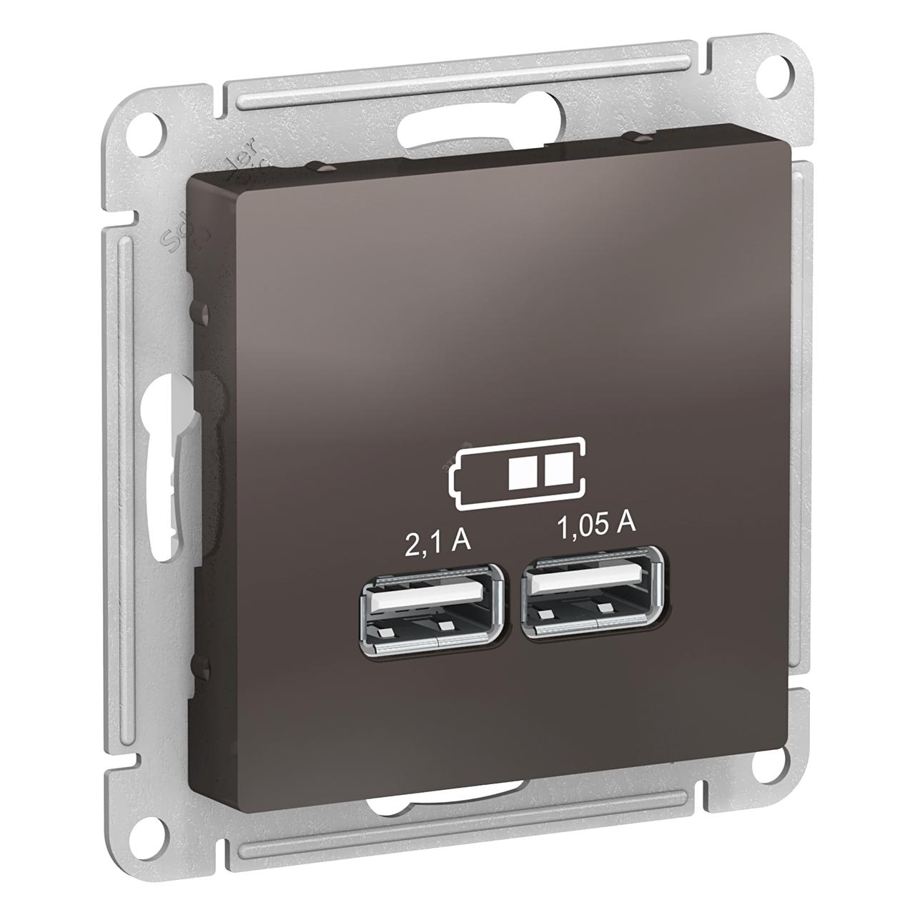 USB розетка А+А, 5В/2,1А мех, МОККО /ATN000633/