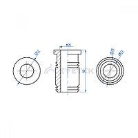 Гайка запрессовочная М20 28 мм для молниеприемника