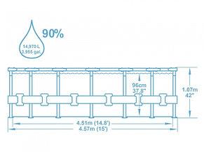 Каркасный бассейн Bestway 56488 (457*107 см, на 14970 литров), фото 2