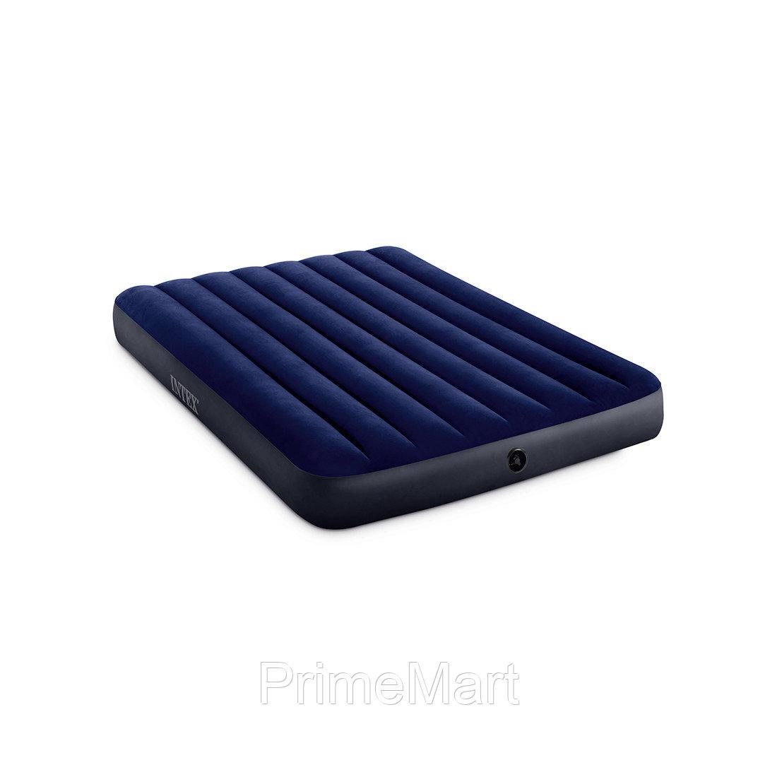 Матрас надувной Dura-Beam Classic Downy Airbed (Full) 191 х 137 х 25 см, INTEX, 64758, Винил, Флокированый верх, Технология Fiber-Tech, Синий, Цветная