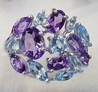 Кольца с полудрагоценными камнями из серебра