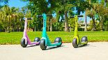 Устойчивый двухколёсный самокат для детей Wild Ones Зелёный синий розовый, фото 4