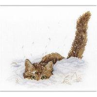 Набор для вышивания 'Кот в снегу', канва, нитки 13 цветов, игла, схема, инструкция