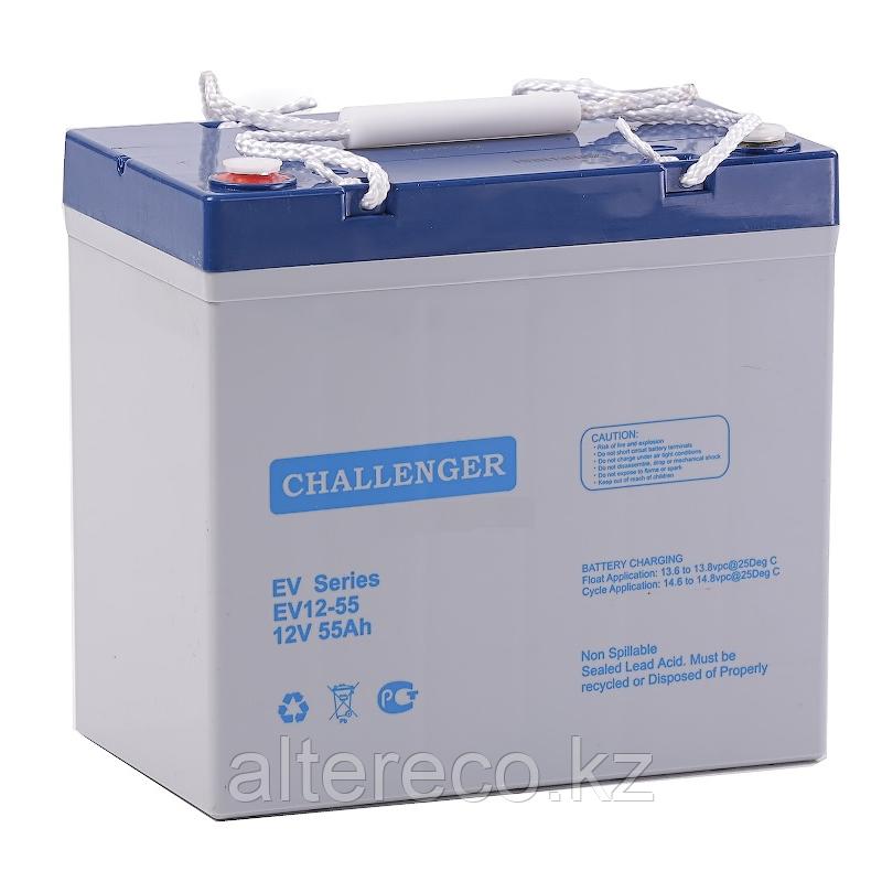 Тяговый аккумулятор Challenger EV12-55 (12В, 55Ач)