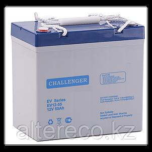 Тяговый аккумулятор Challenger EV12-55 (12В, 55Ач), фото 2