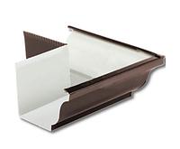 Угол желоба наружный 90º Коричневый 120х86  Металлический прямоугольного сечения ПЭ Ral 8017