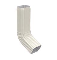 Колено сливное (135 град) 76х102 Белый Металлический прямоугольного сечения  ПЭ Ral 9003