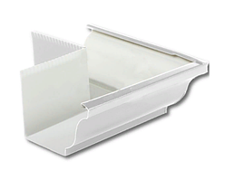 Угол желоба наружный 90º Белый 120х86 Металлический прямоугольного сечения  ПЭ Ral 9003