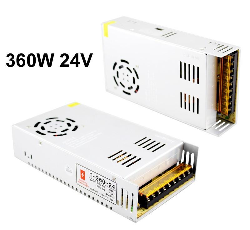 Блок питания 24V 15A 360W, открытый. Трансформатор 220В-24В, 360 Ватт. Блоки питания импульсные 24 вольт.