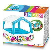 Intex / Надувной бассейн квадратный, со съёмной крышей 157х157х122