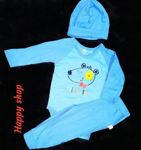 Детский костюм-тройка голубой с шапочкой