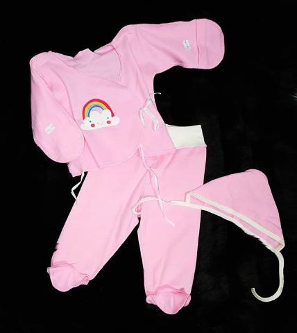 Детский костюм-тройка розовый с цепчиком