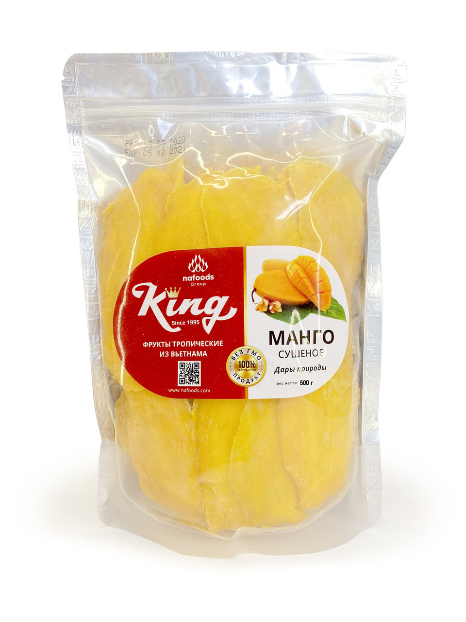 Натуральное сушеное манго KING 500 гр.