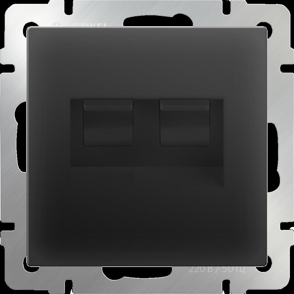 Розетка двойная Ethernet RJ-45 /WL08-RJ45+RJ45 (черный матовый)