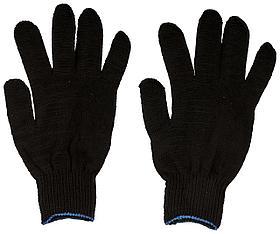 Перчатки вязаные упрочненные ( 5 нитей ) черные х/б с ПВХ