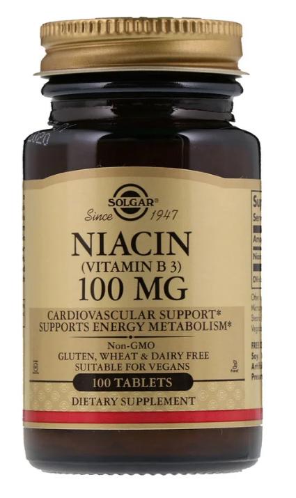 Solgar, Ниацин (витамин В3), 100 мг, 100 таблеток