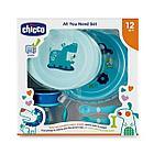 Набор детской посуды Chicco (2тарелки, ложка, вилка, Поильник Chicco) 12м+, голубой