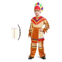 Карнавальный костюм 'Индеец', куртка, брюки, фартук, головной убор, лук, р. 30, рост 110-116 см