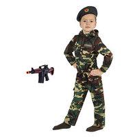 Карнавальный костюм 'Спецназ', куртка с капюшоном, брюки, берет, автомат, рост 92 см