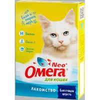 """Лакомство """"Омега Neo+"""" с биотином и таурином """"Блестящая шерсть"""" для кошек, 90 таблеток"""