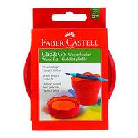 Стакан для рисования Faber-Castell CLIC GO складной, резиновый, розовый