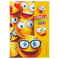 Записная книжка твёрдая обложка А6, 96 листов 'Радостные смайлы', глянцевая ламинация