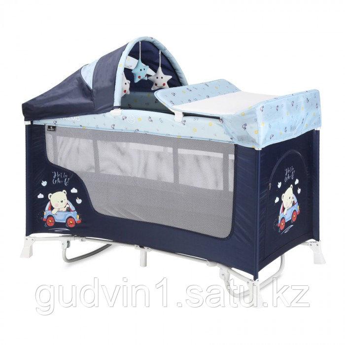 Кровать-манеж Lorelli San Remo 2 Plus Rocker Синий / BLUE BEAR 2072