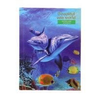 Записная книжка А7, 64 листа 'Мир дельфинов', твёрдая обложка, глянцевая ламинация