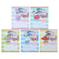 Тетрадь 12 листов косая линия 'Фламинго и цветные волны', обложка мелованная бумага, МИКС (комплект из 25 шт.)