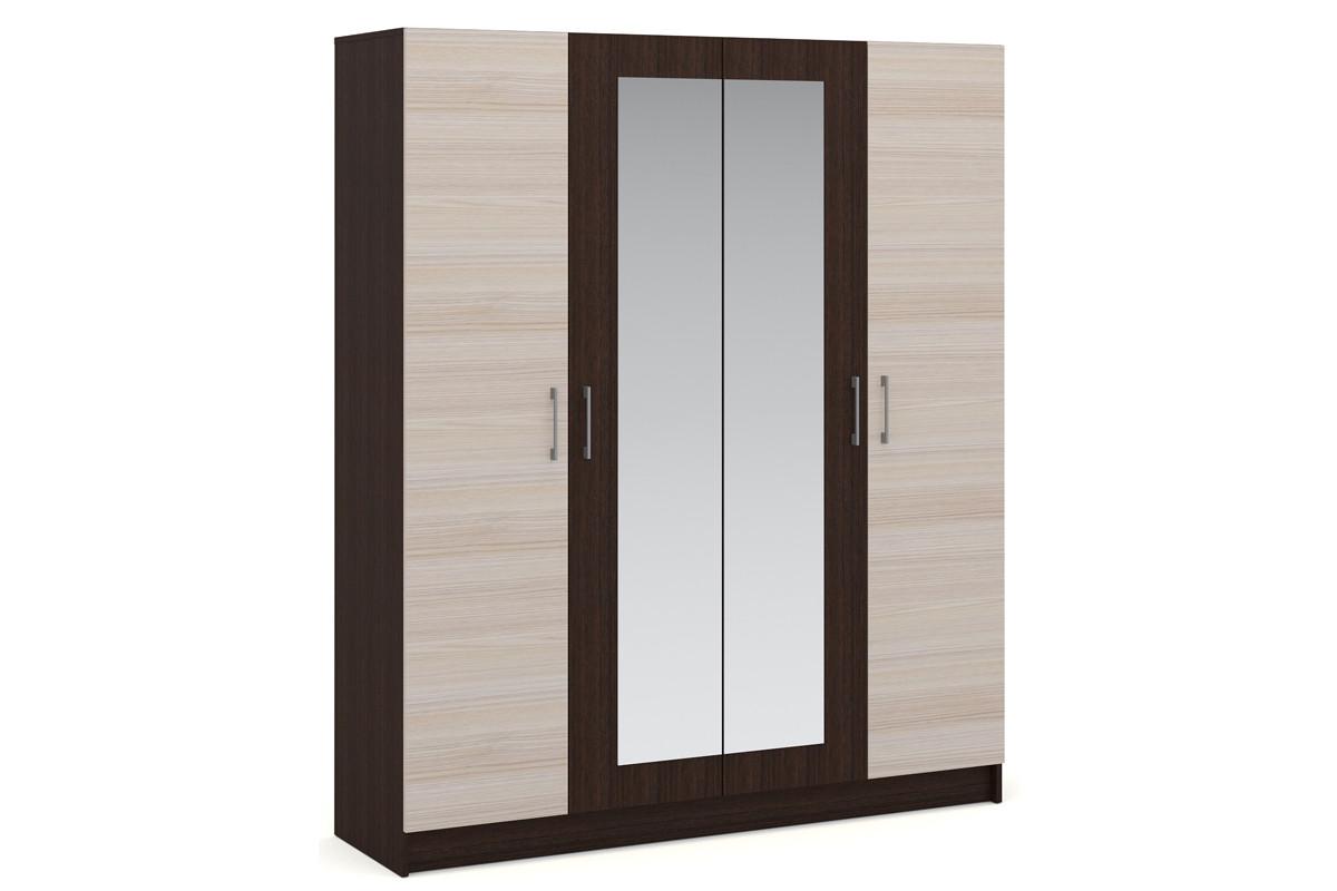 Шкаф для одежды 4Д  Алена, Дуб Молочный, Империал (Россия)