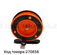 Инерционная катушка для удочки металлическая оранжевая