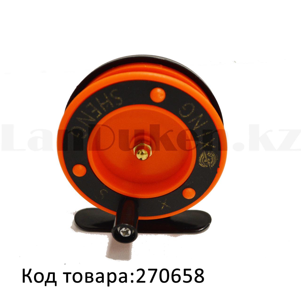 Инерционная катушка для удочки металлическая оранжевая - фото 1