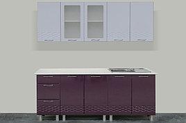 Комплект мебели для кухни Волна 2000, Белый/Баклажан, СВ Мебель(Россия)