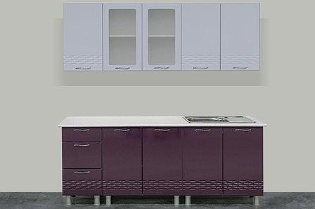 Комплект мебели для кухни Волна 2000, Белый/Баклажан, СВ Мебель(Россия), фото 2
