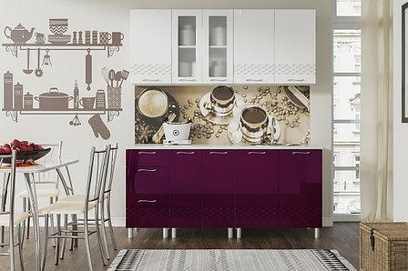 Комплект мебели для кухни Волна 1800, Белый/Баклажан, СВ Мебель(Россия), фото 2