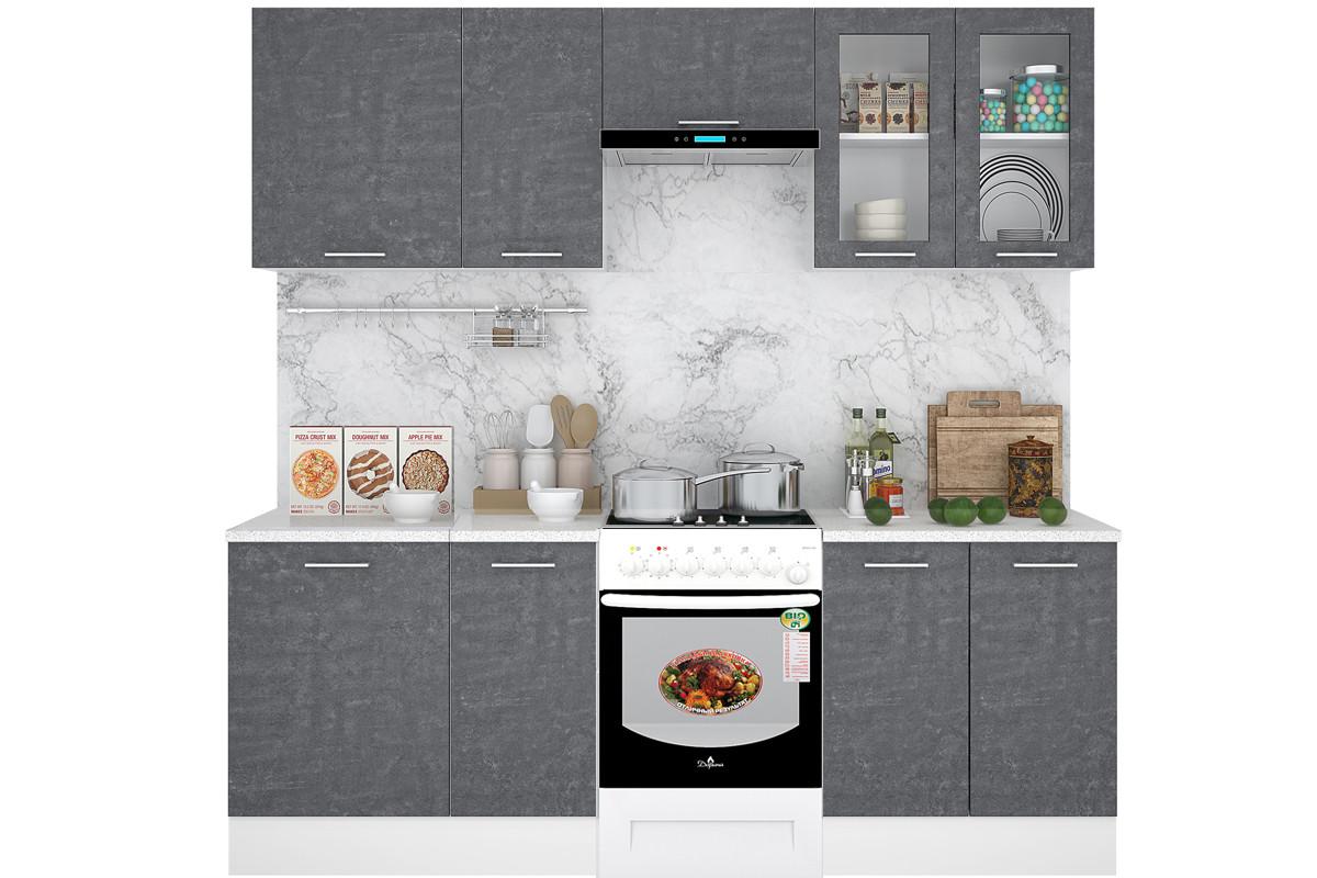 Комплект мебели для кухни Лофт 2400, Камень Арья, Горизонт(Россия)