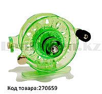 Инерционная катушка с направителем для лески для удочки металлическая зеленая