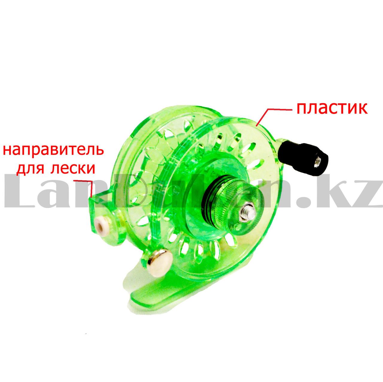 Инерционная катушка с направителем для лески для удочки металлическая зеленая - фото 2