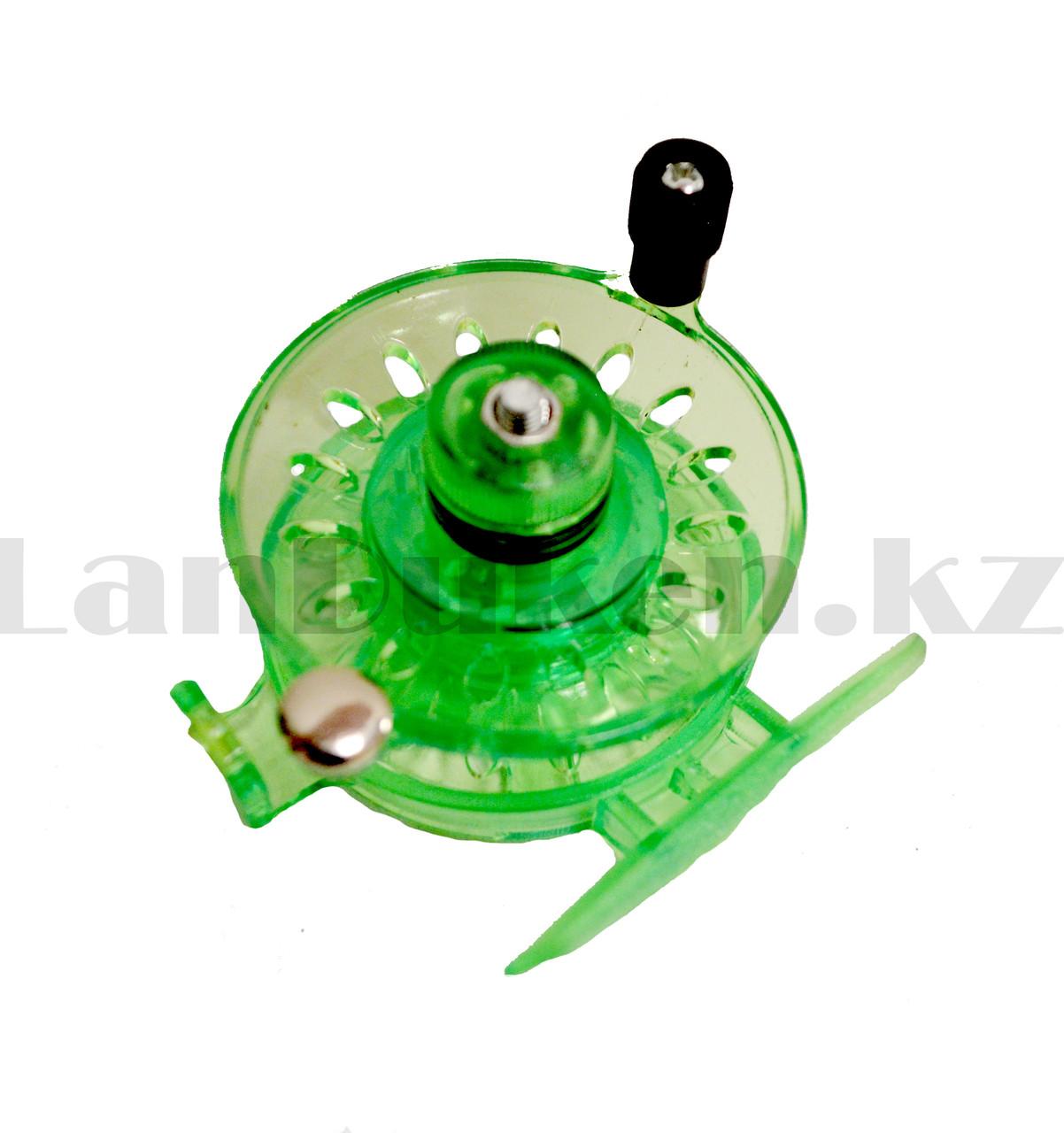 Инерционная катушка с направителем для лески для удочки металлическая зеленая - фото 4