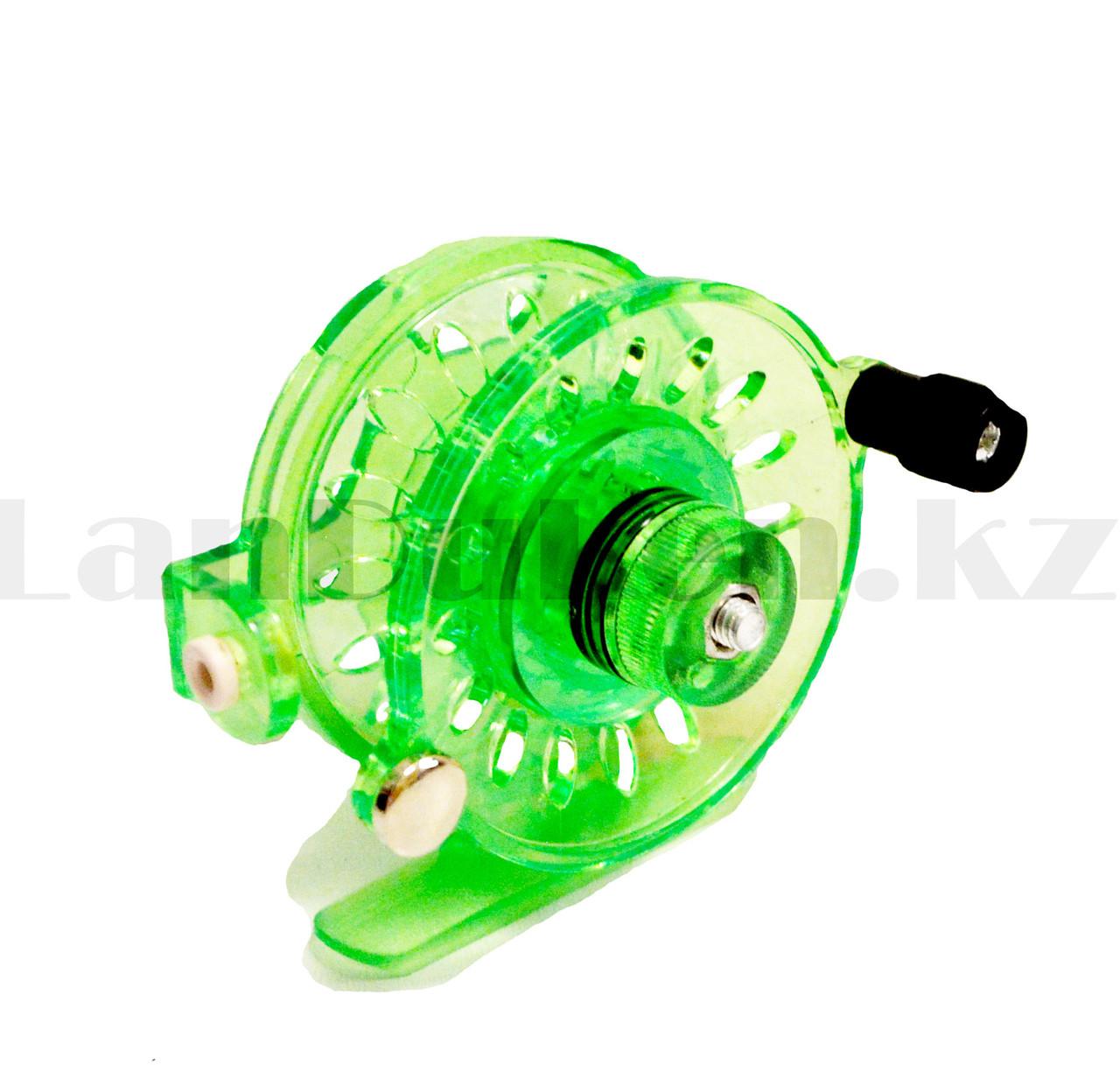 Инерционная катушка с направителем для лески для удочки металлическая зеленая - фото 5