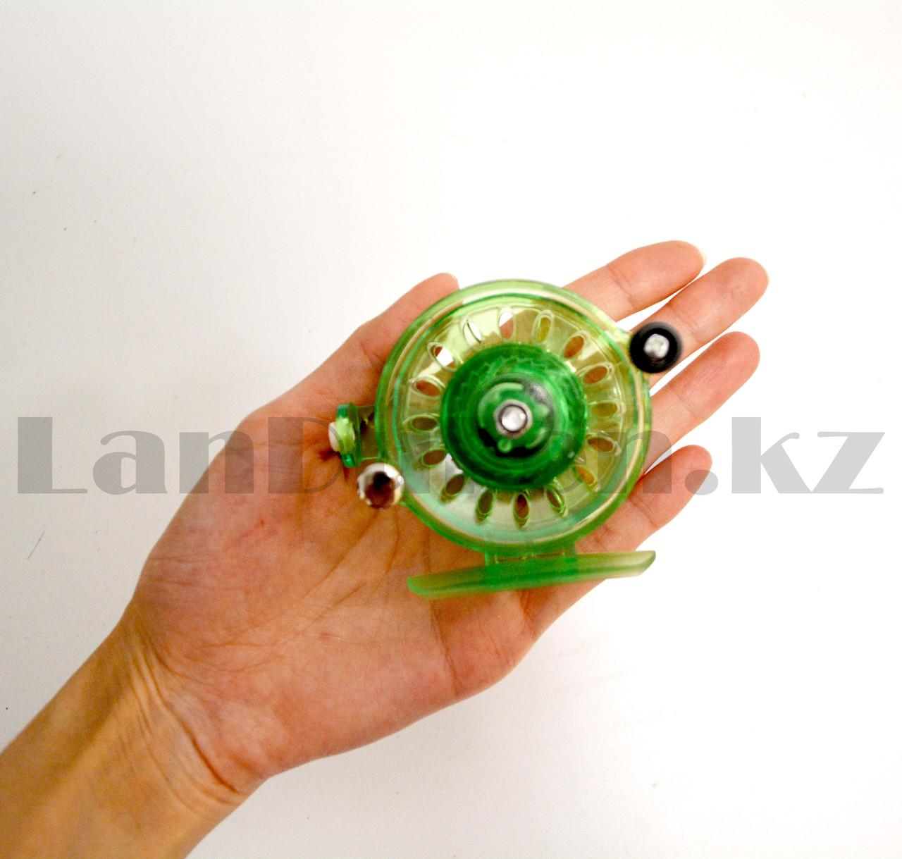 Инерционная катушка с направителем для лески для удочки металлическая зеленая - фото 6